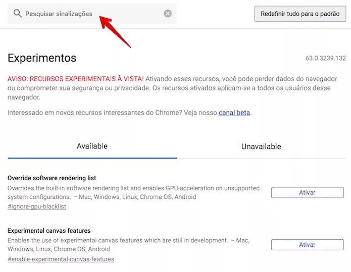 Localize o recurso que você quer ativar no Chrome