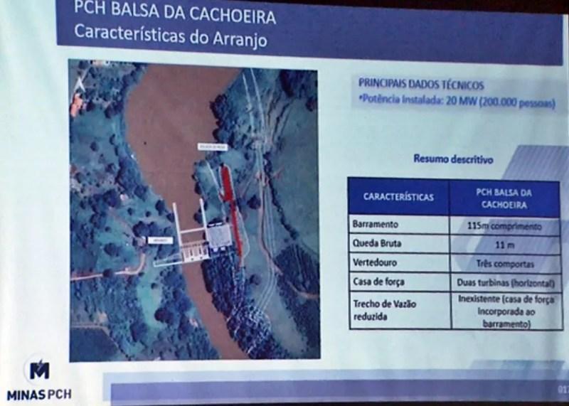 Projeto da PCH Balsa da Cachoeira prevê a construção de uma barragem de 115 metros de comprimento. — Foto: Reprodução EPTV