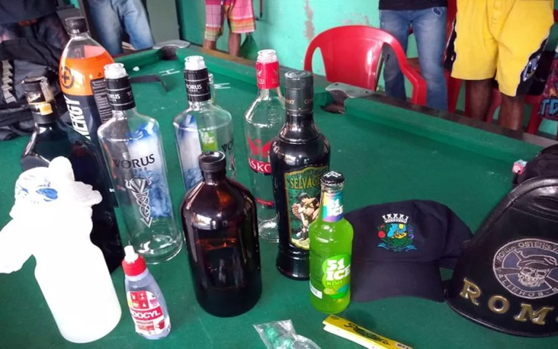 Bebidas apreendidas pela Guarda Municipal de Valinhos (Foto: Guarda Municipal de Valinhos/Divulgação)