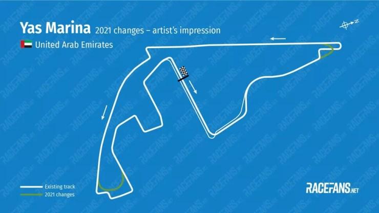 Principais mudanças no circuito de Abu Dhabi — Foto: Race Fans