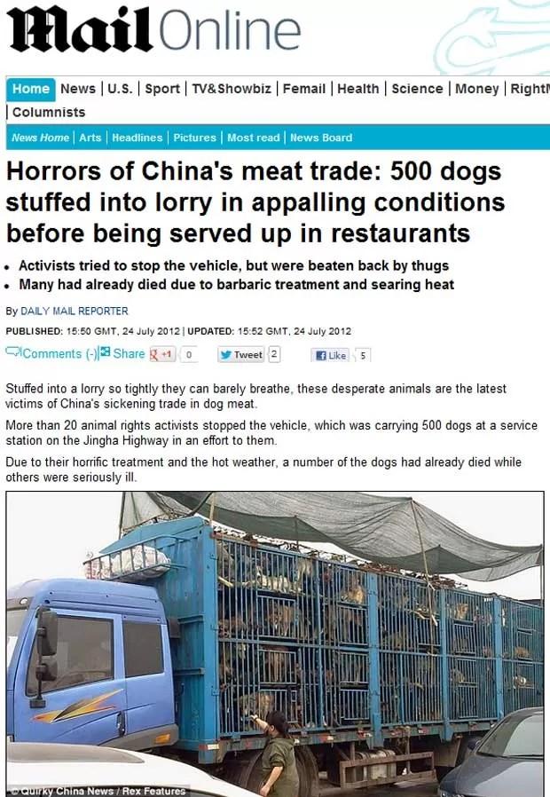 Mais de 20 ativistas tentaram bloquear um caminhão que transportava cachorros para restaurantes da China (Foto: Reprodução)