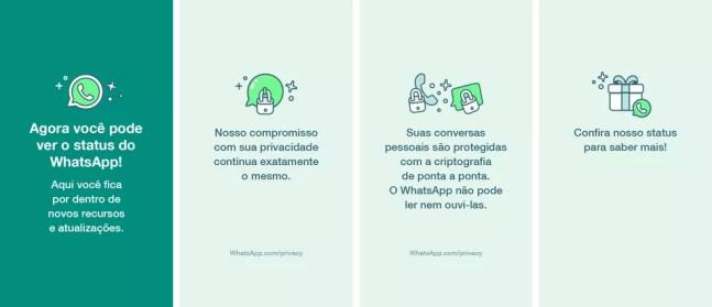 Mudanças nos termos do WhatsApp também foram exibidas na função Status do mensageiro  — Foto: Divulgação/WhatsApp