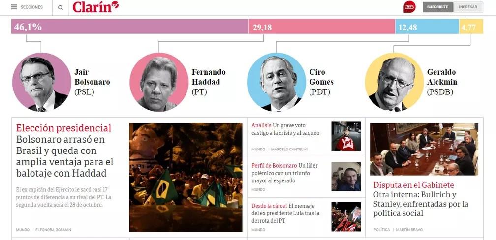 Primeira página do site do jornal 'El Clarín', da Argentina, destaca resultado das eleições no Brasil — Foto: Reprodução/El Clarín