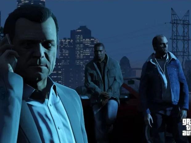 Os três personagens de 'GTA V' conversam antes de missão (Foto: Divulgação)