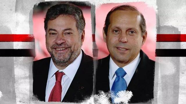 Julio Casares e Roberto Natel, candidatos à presidência do São Paulo — Foto: Editoria de arte