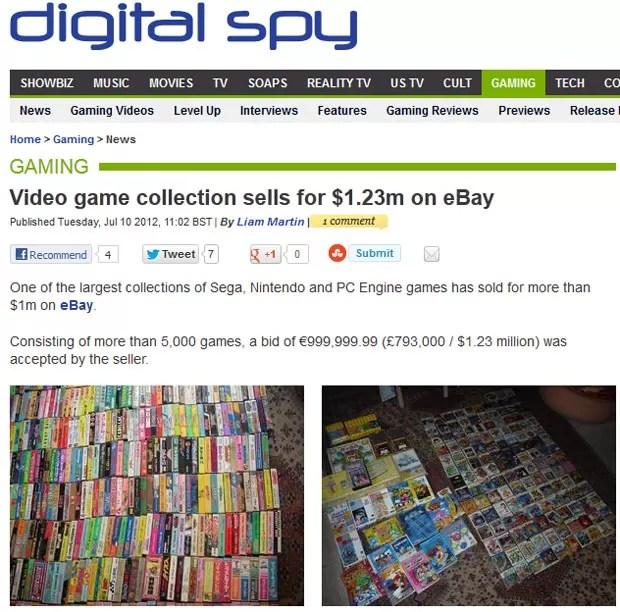 Site 'Digital Spy' mostra imagens da coleção de games vendida por mais de US$ 1 milhão (Foto: Reprodução)