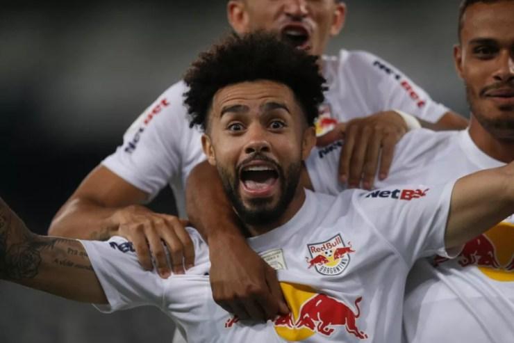 Claudinho comemora gol do Bragantino; meia-atacante é o artilheiro do time no Brasileirão — Foto: Ari Ferreira/Red Bull Bragantino