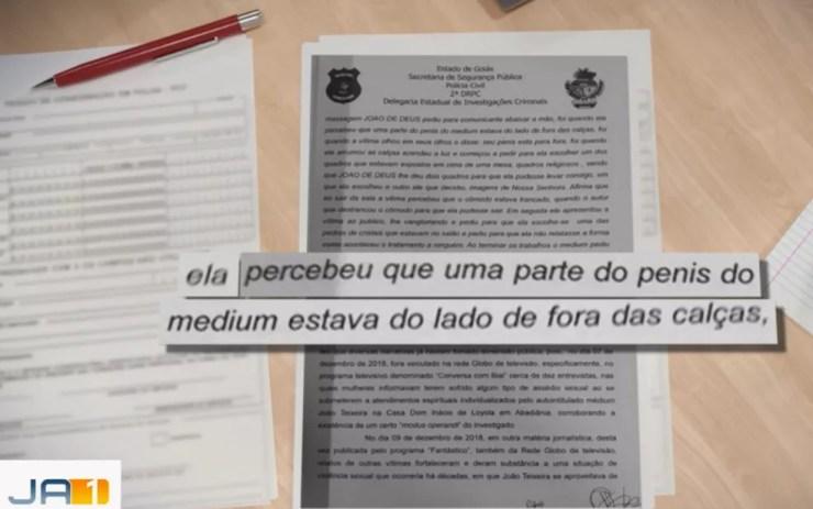 Depoimento de mulher que denuncia abuso por Joã de Deus em Goiás — Foto: Reprodução/TV Anhanguera