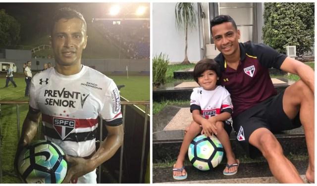 Cícero com a bola do jogo contra o PSTC, em Londrina (esq), no qual fez três gols, e ao lado do filho Enzo, em São Paulo (Foto: Montagem fotos: Marcelo Hazan / Arquivo pessoal)