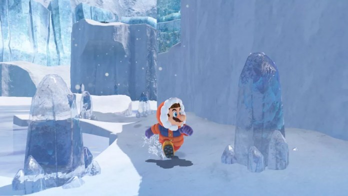 Como todo game do mascote, 'Super Mario Odyssey' também tem uma fase no gelo (Foto: Divulgação)