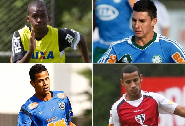 montagem copinha - Igor (Corinthians), João Denoni (Palmeiras), Geuvânio (Santos) e Lucas Evangelista (São Paulo) (Foto: Editoria de Arte)
