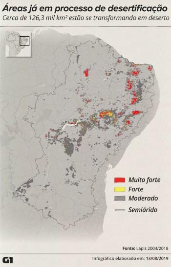 Levantamento do Lapis/Unal sobre áreas em processo de desertificação. — Foto: Rodrigo Sanches/G1