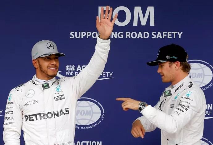 Hamilton e Nico em Interlagos (Foto: REUTERS/Nacho Doce)