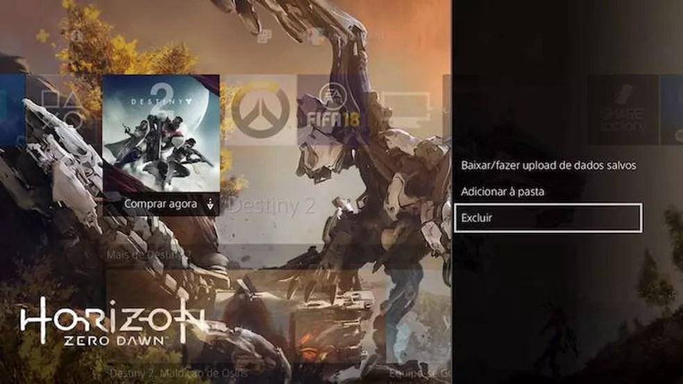 Também é possível remover o anúncio excluindo-o do PS4 (Foto: Reprodução/Murilo Molina)