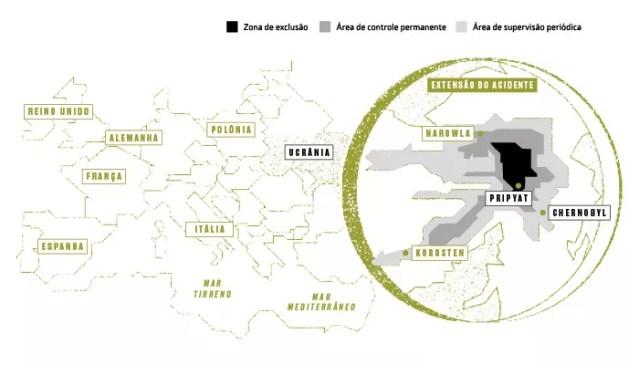ZONA DE EXCLUSÃO Nuvem de radiação liberada após o acidente se  espalhou pela ucrânia e por regiões da europa (Foto:  )