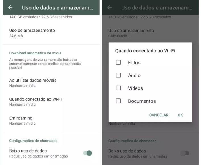 Impeça que a memória do celular fique cheia desativando o download automático de arquivos no WhatsApp  — Foto: Reprodução/Graziela Silva
