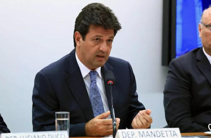 O então deputado federal e agora ministro da Saúde, Luiz Henrique Mandetta (DEM-MS), durante reunião em comissão da Câmara — Foto: Alex Ferreira/Câmara dos Deputados