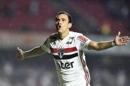 Pablo comemora gol contra o Água Santa — Foto: Mauro Horita/Estadão Conteúdo