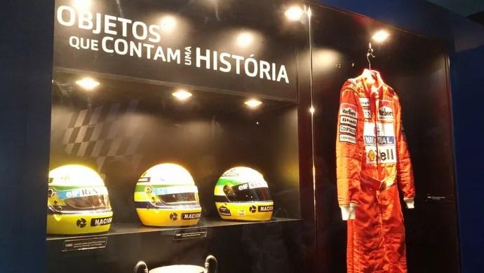 """Objetos de Ayrton Senna na exposição """"Senna Emotion"""" (Foto: Felipe Siqueira)"""