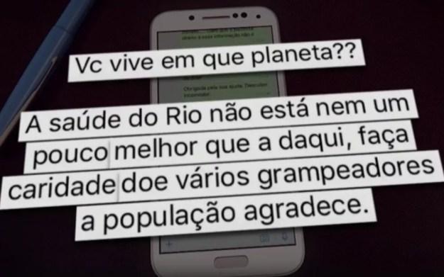 Mensagens trocadas entre doadora do Rio de Janeiro e gerente de medicina cirúrgica do Hospital de Base, Márcia Amorim (Foto: Reprodução)