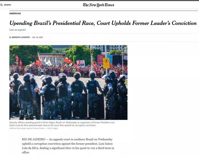 O 'New York Times' afirma que a decisão do TRF-4 é uma vitória dosprocuradores que classificam Lula como personagem central da corrupção no sistema político brasileiro (Foto: Reprodução/New York Times)