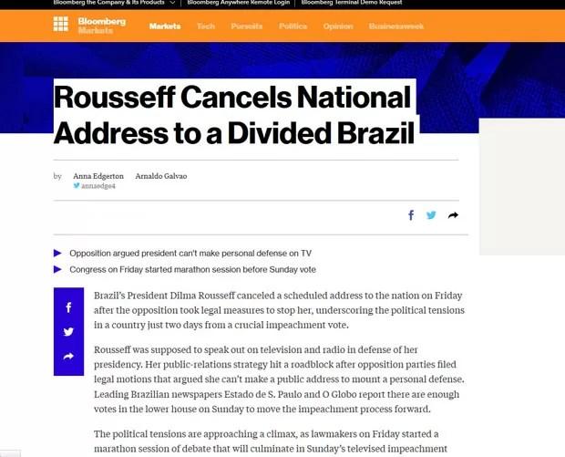 """Reportagem da Blomberg fala sobre um """"Brasil dividido"""". (Foto: Reprodução/Bloomberg)"""