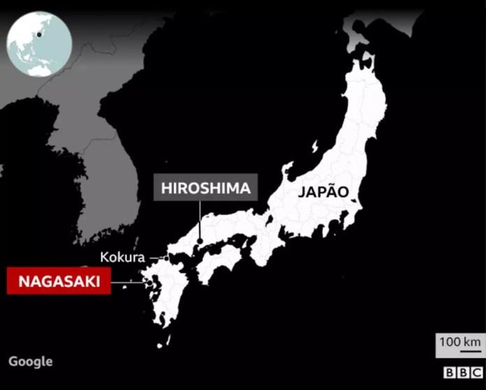 Localização de Hiroshima e Nagasaki — Foto: BBC