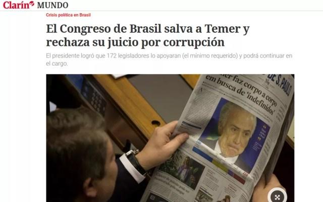 Argentino 'Clarín' também noticiou votação do Congresso brasileiro (Foto: Reprodução/Clarín)