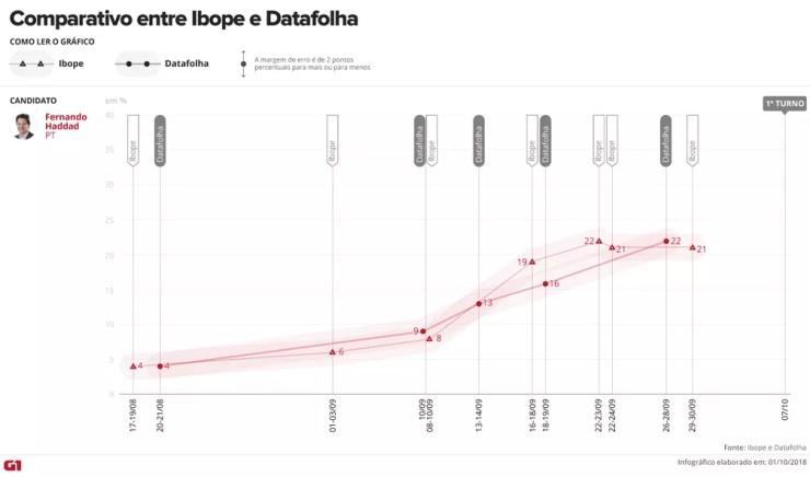 Comparativo entre as pesquisas Ibope e Datafolha - Haddad — Foto: Arte/G1