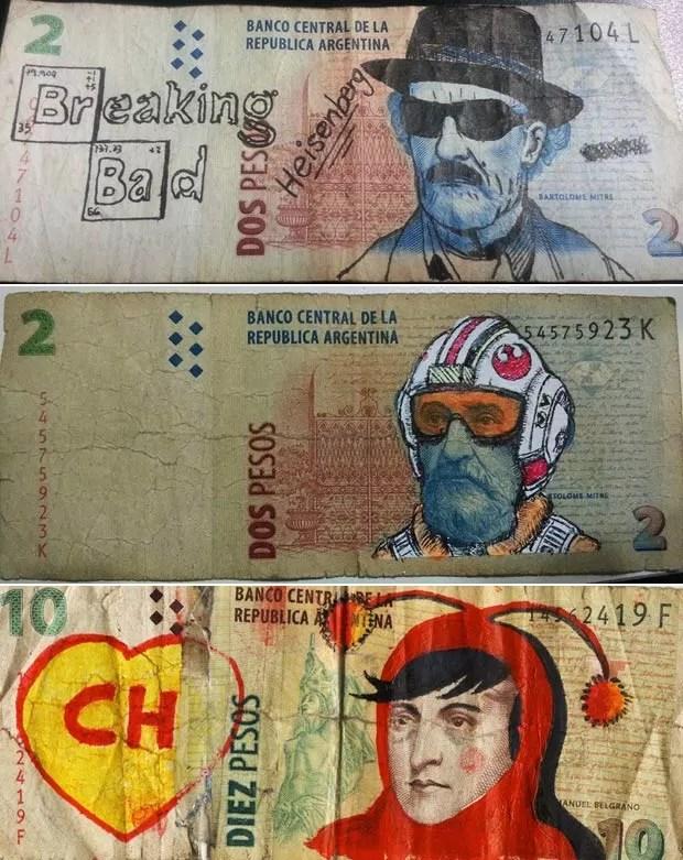 Notas de peso argentino tiveram seus personagens transformados por desenhos (Foto: Reprodução/Facebook/Los Billetes Andan Diciendo)