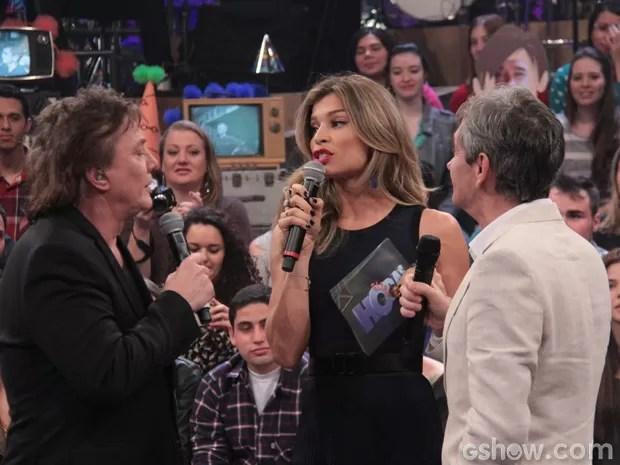 Fábio Jr, Grazi e Serginho se divertem durante gravação (Foto: TV Globo / Divulgação)