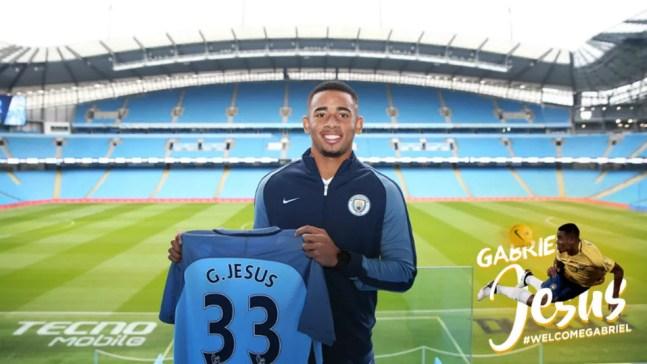 Negociado em agosto, transferência de Gabriel Jesus para o Manchester City por R$ 121 só foi registrada em janeiro (Foto: Divulgação/Site oficial do City)