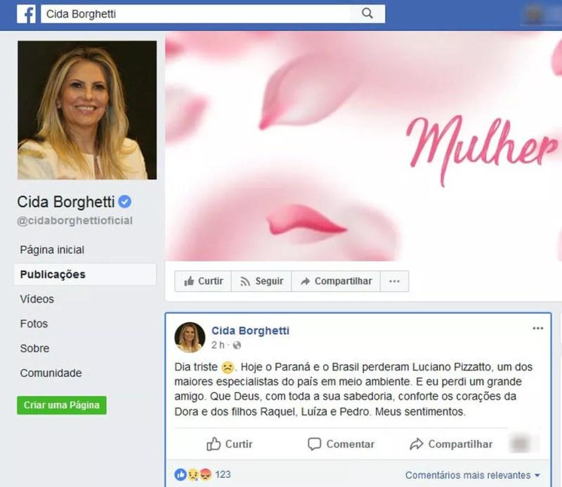 Pela manhã, a vice-governadora do Paraná lamentou, no Facebook, a morte de Pizzatto (Foto: Reprodução/Facebook)
