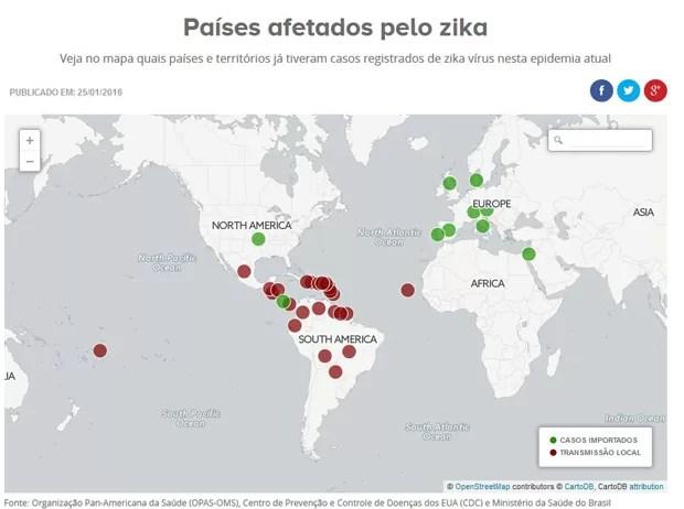 Casos de zika no mundo - 28/1/16 (Foto: Editoria de arte/G1)