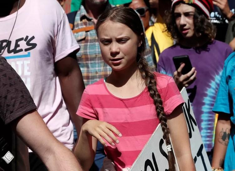 Greta Thunberg participa de protesto pelo clima em Nova York, Estados Unidos, nesta sexta (20). — Foto: Shannon Stapleton/Reuters