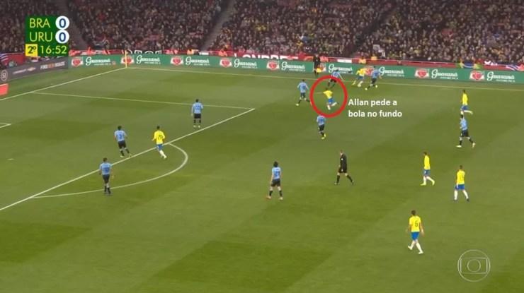 Danilo recebe e tem Allan ultrapassando pela ponta direita. Jogador foi lateral no início de carreira pelo Vasco — Foto: Reprodução TV Globo