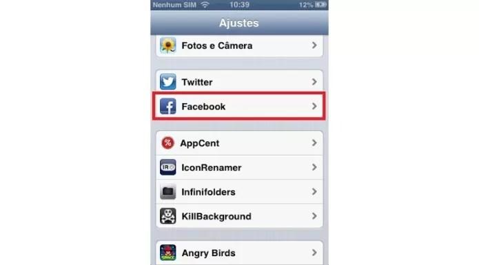 Atalho para as configurações do aplicativo do Facebook (Foto: Reprodução/Lívia Dâmaso)