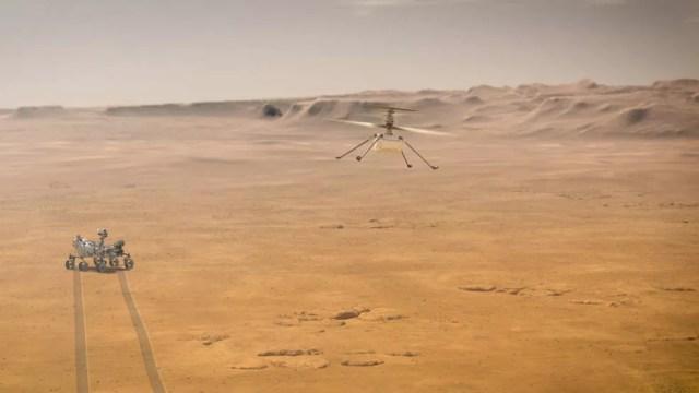 Simulação de voo do Ingenuity. Ao fundo é possível ver a Perseverence (Foto: NASA/JPL-Caltech)