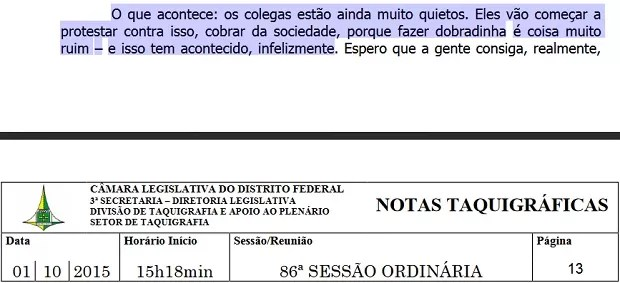 Trecho de nota taquigráfica de sessão ocorrida na Câmara Legislativa do Distrito Federal sobre hemodiálise (Foto: Reprodução)