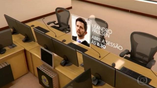 Desembargador Leandro Paulsen abre a sessão do julgamento do recurso de Lula no TRF-4 (Foto: Reprodução/TV Globo)