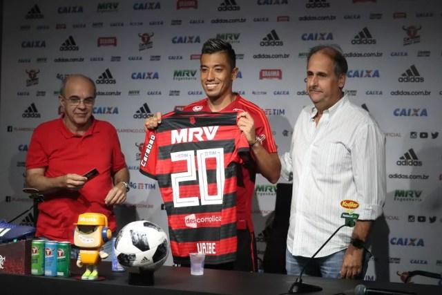 Segundo melhor ataque do Brasileiro, Flamengo apresenta atacante Fernando Uribe em busca de mais gols (Foto: Gilvan de Souza / Flamengo)
