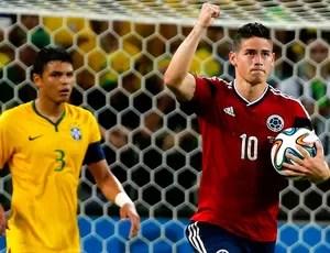 James Rodriguez Colômbia gol Brasil Arena Castelão (Foto: Agência Reuters)