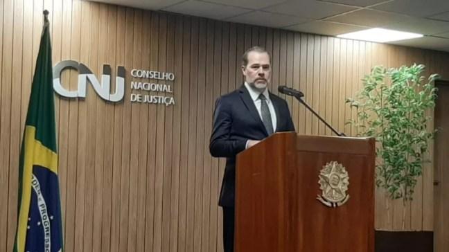 Presidente do STF, Dias Toffoli, concede entrevista coletiva na sede do CNJ, em Brasília — Foto: Rosanne D'Agostino/G1