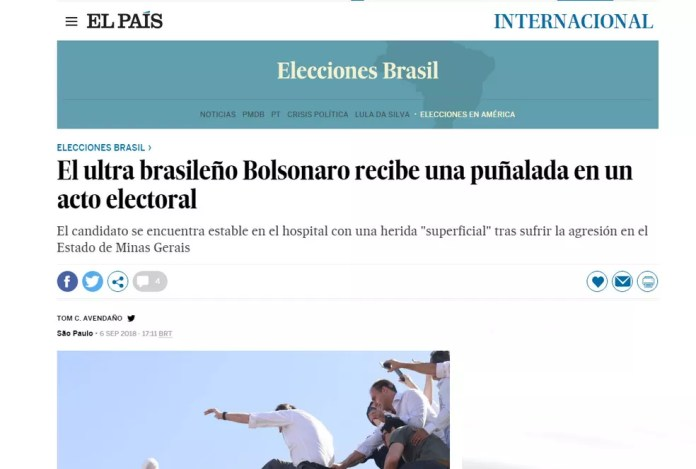 Jornal espanhol 'El País' noticiou que Bolsonaro levou facada durante ato de campanha (Foto: Reprodução/El País)
