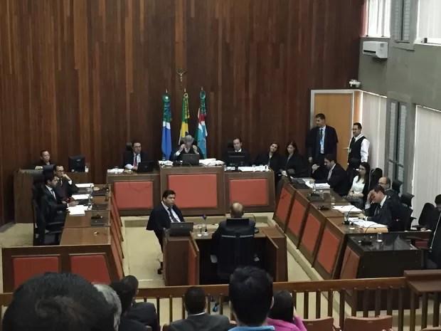 Depoimento do prefeito Alcides Bernal no processo em que o prefeito afastado, Gilmar Olarte, é acusado de corrupção passiva e lavagem de dinheiro (Foto: Gabriela Pavão/G1 MS)