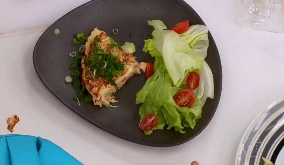Tortilha com Frango, Alho-Poró e Tomate