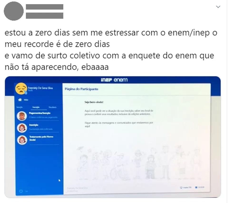 Estudantes relatam dificuldades em acessar a enquete de datas do Enem 2020 — Foto: Reprodução/Twitter