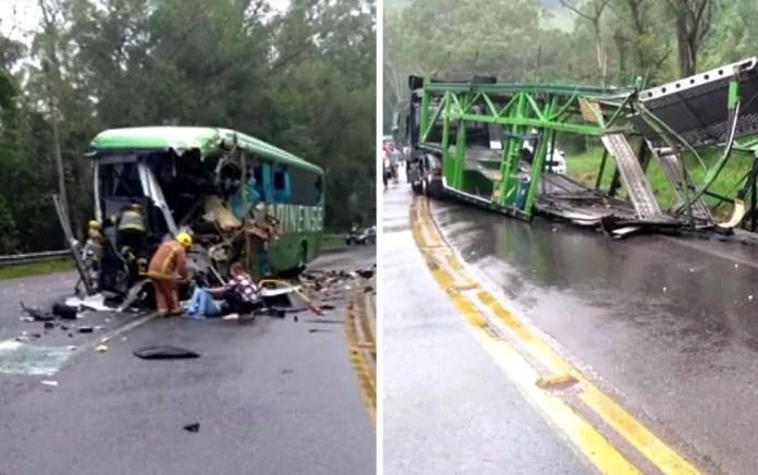 Carreta e ônibus se chocaram na serra em Ibirama  — Foto: Montagem/G1