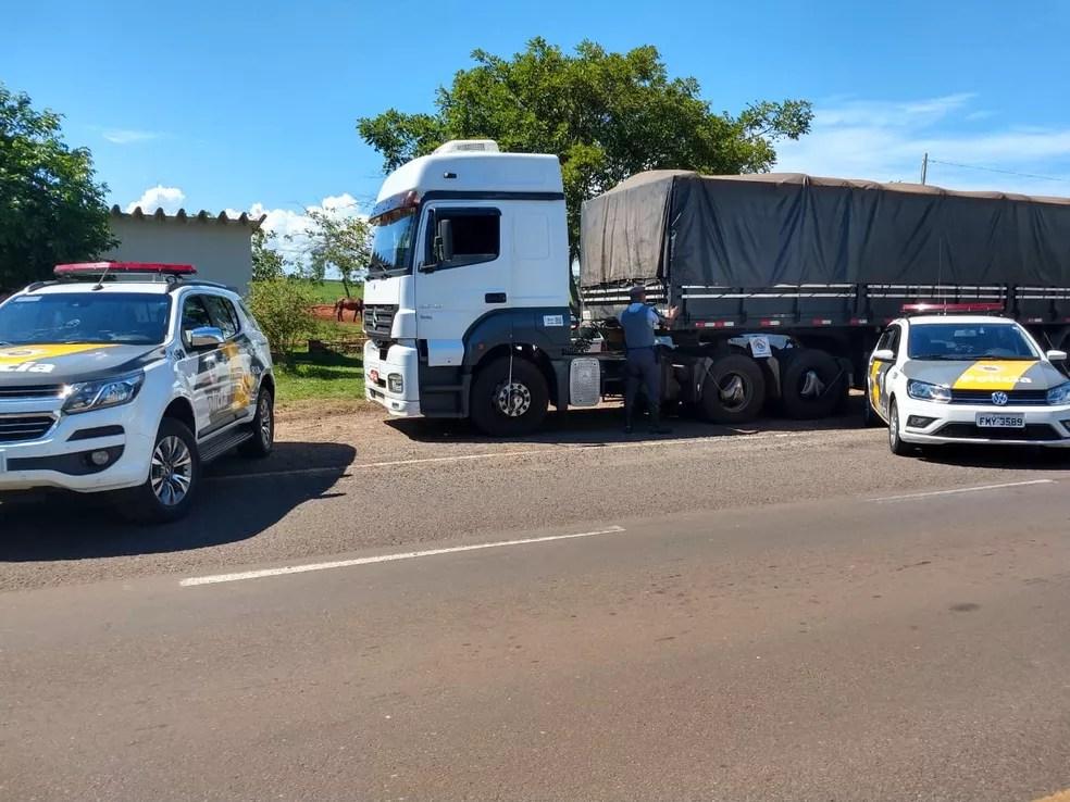 Apreensão ocorreu durante fiscalização em rodovia, em Rosana — Foto: Cedida/Polícia Rodoviária