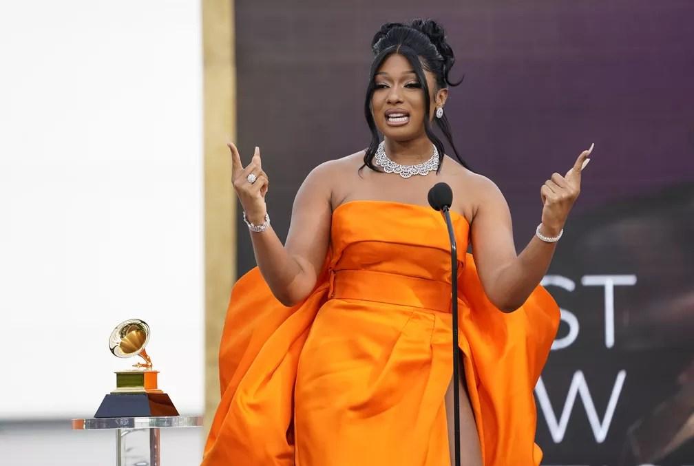 Megan Thee Stallion ganha Grammy de Artista Revelação — Foto: AP Photo/Chris Pizzello